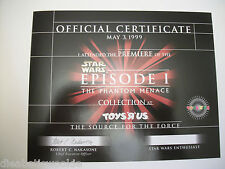 Star Wars Episode 1 one Midnight opening 1999 Toys R Us certificate rare