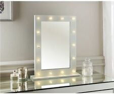 LED LIGHTS HOLLY WOOD DRESSING TABLE MIRROR WHITE METAL BATH BED ROOM 50X0
