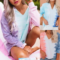 ❤️Women Long Sleeve Tie-Dye Sweatshirt Tops Blouse Casual Loose Hoodies Pullover