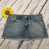 Vintage Hollister Womens Jean Mini Skirt Size 3 100% Cotton Blue Denim hp3343