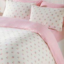 Pink Rosebud King Size Bedding & Pillowcases Duvet Cover Set 100% Brushed Cotton