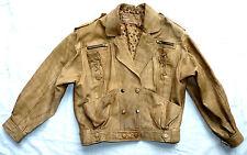 Vintage 80's Tan Brown Real Leather Biker style Jacket size M fits UK10-12