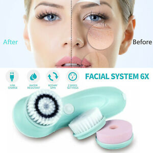 4 in 1 Electric Facial Cleansing Brush Soft Scrubber Face Massager Rechargeable