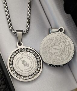 Mens Silver Stainless Steel Lords Prayer CZ Iced Out Protection Necklace Gift