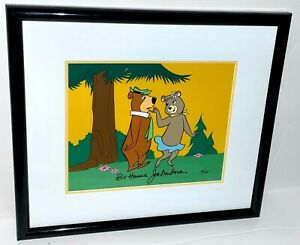 Yogi Bear Cel Hanna Barbera Signed Cindy Flirting With Yogi Animation Cell