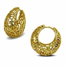 9K Gold Filled Creole Filigree Basket Handbag Hoop Earrings Womens 9ct BE114