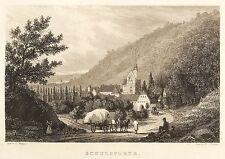 SCHULPFORTE - GESAMTANSICHT - Bechstein - Stahlstich 1838