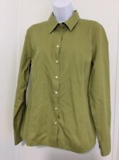 Cutter Buck Womens Size M Button Up Fitted Blouse Green Long Sleeve