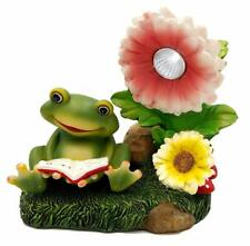 Solar Powered Frog with Flowers Outdoor Led Garden Light Decor