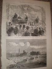 Albert Bridge ouvert Glasgow Scotland 1871 OLD PRINT