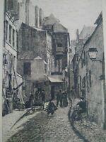 Vieux Paris, superbe eau-forte XIXème Rue Brisemiche A. Trimolet gravure signée