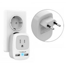 US to European Travel Power Adapter Wall Plug With 2 USB Chargeing Ports