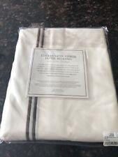 New Restoration Hardware Ivory Brown Queen Italian Satin Stitch Bedskirt