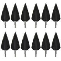 12pcs Eskimo Black 2 Blade Broadheads 160 Grain Arrowheads Hunting Points Tips