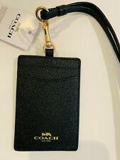 Coach ID Badge Lanyard w/ Card Slot in leather Black
