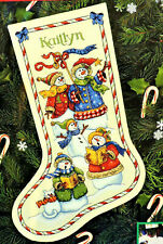 Vtg 90s Dimensions Snow Carolers Snowman Counted Cross Stitch Christmas Stocking
