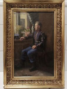 Antikes Gemälde Militaria Ölbild Original 1915 Brandt Bild 44 cm Soldat
