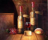 Wine Bottles Vintage French Cellar Glass Tasting 20X24 Oil Painting Stretched