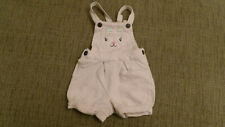 Carters Overall Shorts Girls Outfit Pink with Bunny Face on Bib