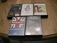The Who 5 Cassette Lot:Greatest Hits, Face Dances, Quadrophenia, It's Hard, Leed
