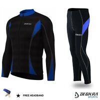 Deckra Men's Cycling Pants+Jersey Long Sleeves Thermal Winter Bicycle Tights