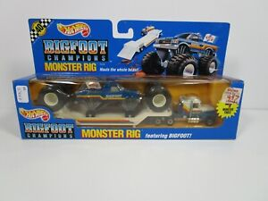 HOT WHEELS 1/64 BIGFOOT MONSTER TRUCK AND RIG USED *VHTF* NICE *READ*