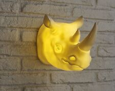 Amber Bright Wall Mounted Rhino Head With Remote Battery Powered LED Light