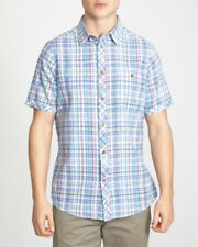 Dunnes Regular Fit Linen Blend Check Short Sleeve Shirt - Size: Medium