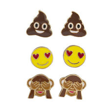 Lux Accessories Gold Tone Poop Heart Eyes Monkey Hiding Eyes Earring Set (3pcs)