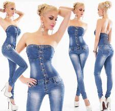 Women's Jeans Overalls Trousers Rhinestone Bandeau Jumpsuit Skinny Stretch Denim