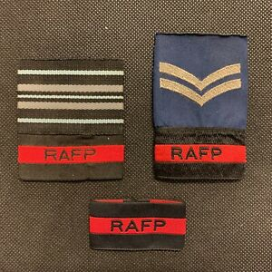 GENUINE ROYAL AIR FORCE POLICE ISSUE RANK SLIDES,SQUADRON LEADER,CORPORAL,RAFP
