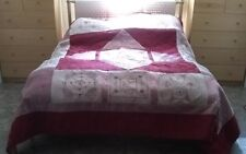 Red & Pink queen Quilt bedspread comforter roses blanket cotton bed cover