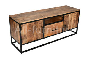 Solid wood TV Stand industrial retro style entertainment Large TV console table
