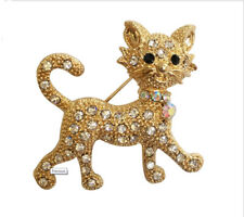 Diamante Cat Brooch Gift Animal Brooches Pin Sliver Gold  Fashion Jewellery