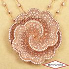 Estate 5.42ct Diamond 18K Rose Gold Flower Pendant Chain Necklace 36.5 Grams NR