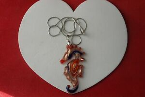 """BEAUTIFUL PENDANT WITH SEAHORSE MURANO GLASS 8X3.5 CM. WIDE 18"""" 925 SILVER CHAIN"""