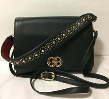 NWT EMMA FOX Diva Boxy Shoulder Black Red Gold Leather Shoulder Bag Crossbody