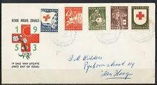 FDC E-14 RODE KRUIS 1953 - GESCHREVEN ADRES / GESLOTEN KLEP           Mt211