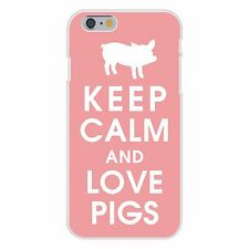 Keep Calm and Love Pigs White Silhouette FITS iPhone 6+ Snap On Case Cover New