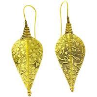Ohrringe Pfeilspitze schraffiert Blüten Messing antik golden Tribal Ohrhänger ni