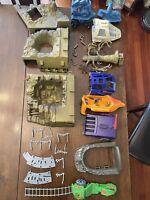 Huge Lot Of Vintage MOTU He-Man Set Vehicles Parts - Eternia Fright Snake Mtn