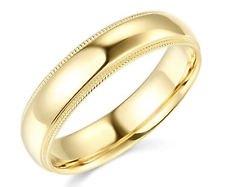 твердый настоящее 14K желтое золото СВАДЬБА ЮБИЛЕЙ группы кольцо Milgrain Мужские женские