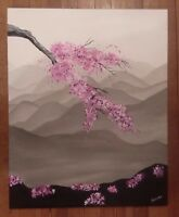 Original japanese gray mountain cherry blossom flowers impressionist painting