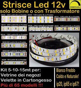 STRISCIA LED STRIP 12v 5-10-15mt anche WATERPROOF BOBINA LUCE DIMMERABILE 12Volt