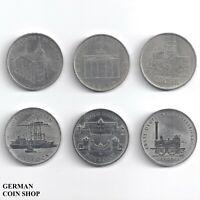 DDR - Set 6 verschiedene 5 Mark Münzen - 1971 1972 1983 1986 1988