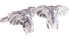 ELEPHANT CUFFLINKS, STERLING SILVER, BLUE  TOPAZ EYES.  G.DANILOFF & CO.USA