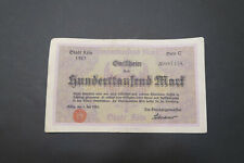 Notgeld, Stadt Köln, 3 x100 000 Mark, 1923, Serie A, B, C, Adenauer