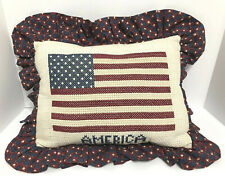 Handmade Cross Stitch Needlepoint American Flag Patriotic USA Pillow Labor Day