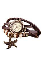 Frauen Maedchen Armband Starfish Dekoration Armbanduhr mit Anhaenger Braun L6Y2