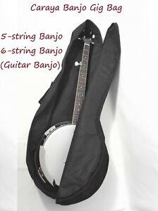 Caraya Soft Banjo Gig Bag - Guitar Banjo,5-String Banjo,Tenor Banjo. Black Nylon